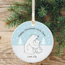 Ceramic Uncle Keepsake Christmas Decoration - Polar Bear Design